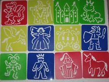 Lot Of 12 Stencils Fairytale Dragon Unicorn Princess Castle Knight Joker Frog