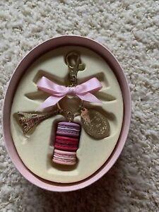 LADUREE Macaroon Keychain Eiffel Tower Bag Charm In Original Gift Box