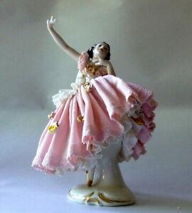 "Antique Germany Ackerman & Fritz 6"" High Kicking Dresden Ballerina Figurine"