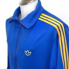 Adidas Vintage 80s Trefoil Three Striped Blue Track Warmup Jacket Mens Medium