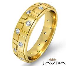 Bevel Step Edge Mens Ring 18k Yellow Gold Eternity Wedding Diamond Band 0.26Ct