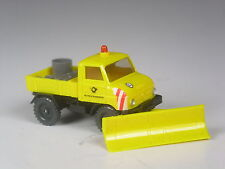 TOP: Wiking Werbemodell Unimog 411 geschlossen Post gelb mit Schneepflug