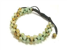 Adjustable 96 Light Green/Yellow Jade Beaded Hand-knotted String Bracelet