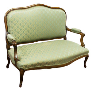 Antique Sofa, Louis XV Style Upholstered , Walnut  Settee,Light Green, 1800s,