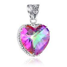 2 Pcs/lot Xmas Gift Darling LOVE Heart Rainbow Mystical Topaz Silver Pendant