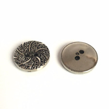 10 x 15mm silver metallic plastic buttons with decorative surface