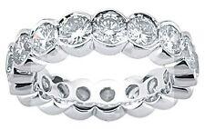 4 carat Round Diamond Eternity Ring Platinum Band Half Bezel size 5, 1/4 ct each