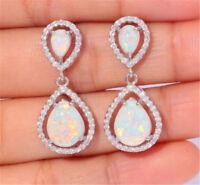 925 Silver Opal White Topaz Woman Dangle Earrings Fashion Wedding Birthday Gift