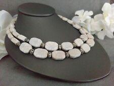 ROBERT ROSE Silver Tone White & Gray Faux Stone Double Strand Choker Necklace