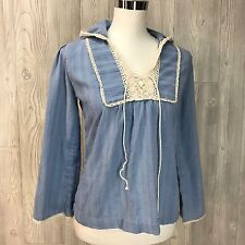 VTG Womens 70's Hippy Muslin Blue Crochet Lace Top Hood Hoodie Corset Shirt Boho