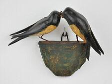 Antikes Schwalbennest, Holz geschnitzt, 19/15 cm, ca um 1900/Anfang 20.Jh. Vögel