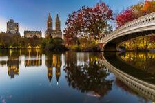 Bow Bridge Panorama Central Park Dusk New York Photo Art Print Poster 18x12