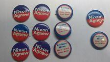 Lot of 11 Vintage Richard Nixon Agnew Political Campaign Pins Pinbacks