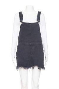 FREE PEOPLE Black Denim Overalls 2 Mini Distressed Frayed Dress 90's Jean Short