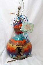 Real Home Grown and Hand Painted Gourd Color Wheel Bird House by Merilee