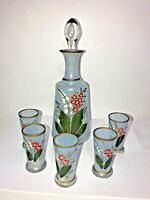 Antique Vtg Frosted Glass Decanter Hand Painted Flowers with 5 Matching Glasses