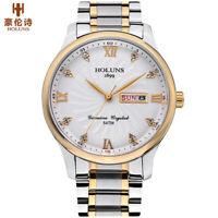 HOLUNS Men's Pilot Quartz Watches 316L Steel Band Waterproof Week Date Watch