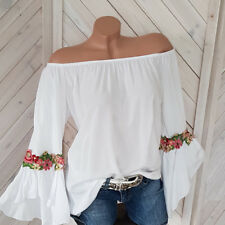 Bluse Tunika Carmen Stickerei off Shoulder weiß Volant Blumen Gr.36 38 40 42 H1