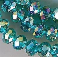 6x4mm, vert multicolore perles de cristal  en vrac, 100pcs