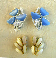 Lot of 2 Pair Vintage Thermoset Lucite Clip-on Earrings blue flower cream beige