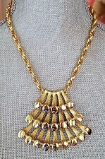 Vintage Signed NAPIER Egyptian Revival Pyramid  NECKLACE gold pl ancient look