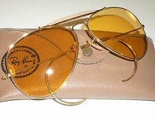 62[]14 VINTAGE B&L RAY BAN CHANGEABLE AMBERMATIC OUTDOORSMAN AVIATOR SUNGLASSES