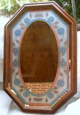 """EIGHT SIDED STAINED GLASS LOOK WOOD FRAMED WALL MIRROR 31"""" X 21"""""""