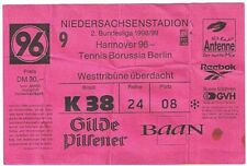 Ticket - Hannover 96 v Tennis Borussia Berlin 1998/9