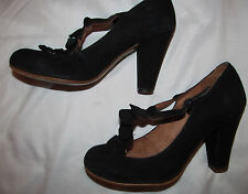 TOPSHOP black suede leather T ruffled strap kawaii shoes 38 US 7.5 M