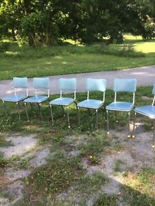 Vtg Mid Century Retro Dinette Chrome Vinyl Kitchen Chairs Light blue 6 available