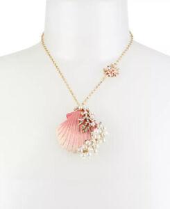 NWT Betsey Johnson faux Pearl & Crystal Sea Shell Pendant Mermaid Necklace
