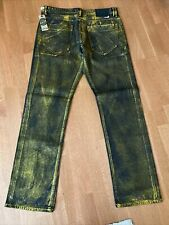 New NWT Akoo Denim Black and Gold Paint Jeans Relaxed Straight Fit Size 36 X 33
