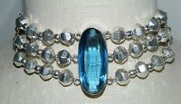 VTG Mexican .925 Sterling Silver Heavy Large Faceted Blue Glass Choker Necklace