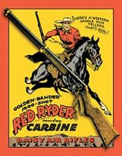 Daisy Red Ryder BB Gun TIN SIGN Vintage Western Cowboy Poster Decor Childhood Ad