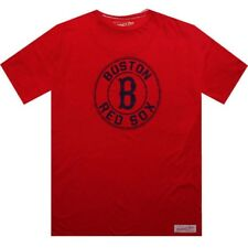 $50.00 Mitchell And Ness Boston Red Sox Short Sleeve Tee (scarlet / cream) 3118A