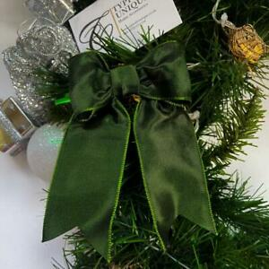 5 PRE TIED CHRISTMAS BOWS CLASSIC GREEN TAFFETA WIRE EDGED CRAFT GIFT WRAPPING