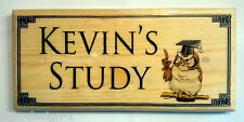 Personalised Study Plaque / Sign - Owl Books Reading Work Office Desk Border