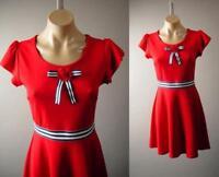 Red 40s 50s Sailor Nautical Pinup Stripe Bow Brooch Skater 275 mv Dress S M L