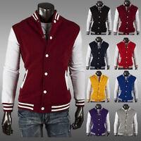 New Men's Letterman Baseball Varsity Jacket College Casual Uniform Coat Outwear_