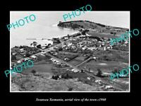 OLD LARGE HISTORIC PHOTO OF SWANSEA TASMANIA, AERIAL VIEW OF THE TOWN c1960