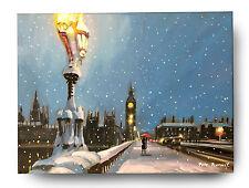 """Original Pintura al Óleo Arte Fino por Pete Rumney 'Londres Ciudad en la nieve """"Big Ben"""