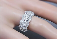 14K White Gold Round Cut Diamond Eternity Band Ring Flower Style Deco 3.50ctw