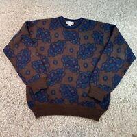 Vintage TRICOTS ST. RAPHAEL Brown Patterned Knit Jumper Pullover Mens Medium