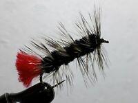 FLY-FISHING-FLIES (** BLACK WOOLLY WORM **) **2 FLIES**SIZE 12 **
