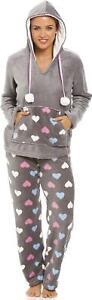 Camille Multi Coloured Heart Print Supersoft Fleece Grey Pyjama Set with Hood