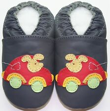 Minishoezoo car mice grey 24-36 m soft sole leather baby toddler shoes