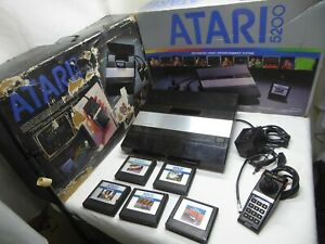 Atari 5200 4 port Black Console Power MOD Seller refurbished with box 5 games