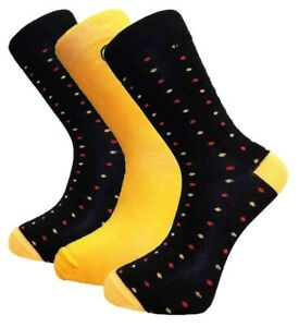 3 Pairs Mens Alexander Green Spotted Bamboo Socks, Black Yellow Red, Size 7-11