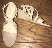 Calvin Klein Nude Beige Wedge Strappy Shoes Sandals Size 4