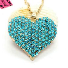 Hot Rhinestone Blue Shiny Heart Crystal Pendant Betsey Johnson Chain Necklace